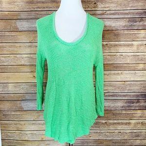 Zara Knit Bright Green Open Knit ScoopNeck Sweater